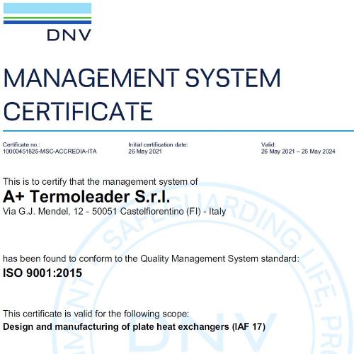 A+ Termoleader: la qualità diventa certificata