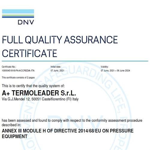 Termoleader ha conseguito la certificazione PED (2014/68/UE) secondo il Modulo H per gli scambiatori di calore a piastre